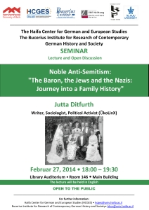 Flyer: Jutta Ditfurth – The public lectures in Israel